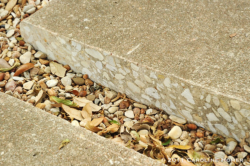 The cut edge of driveway concrete