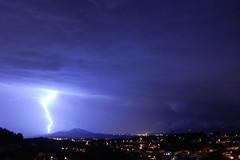 Big lightning (bSight) Tags: city blue azul night clouds lights luces noche ciudad bluesky lightning blau rayo nit ciutat llums llamp flickrsbest mywinners diamondclassphotographer flickrdiamond