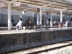 Outra pessoa com uma bicicleta dobrável no comboio! :-)