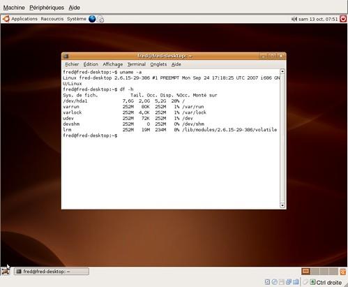 espace pris avec une ubuntu 6.06.1 LTS