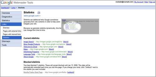 google sitelinks in webmaster tools