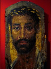Fayum (or Fayoum) mummy portrait of a thin-faced man with a gilded wreath (ggnyc) Tags: wood nyc newyorkcity museum painting egypt mummy met encaustic funerary metropolitanmuseumofart ancientegypt egyptology egyptianart grecoroman fayum fayoum mummyportrait limewood egyptianwing romanperiod fayumportrait fayoumportrait