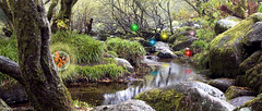 Fairy Wood (JuSlaughter) Tags: wood trees water lights moss wings rocks stream magic fairy enchanted