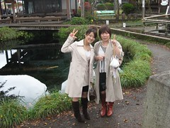Chizuko and Tamachan by Fuji Lake