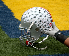 buckeyes (Boston Wolverine) Tags: college leaves football sticker university helmet annarbor uofm osu ncaa buckeyes hold pregame ohiostate 70300mmf456