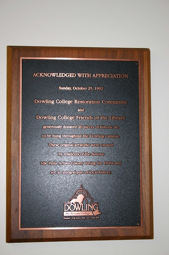 Plaque, Dowling College Library Reference Room
