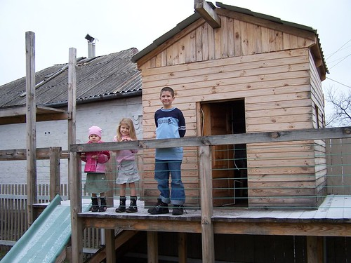 Ashlee, Kaylee, and Joshua on the play structure