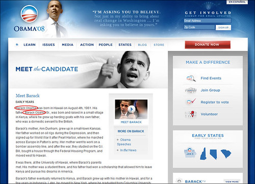 Barack Obama for President Meet the Candidate Page