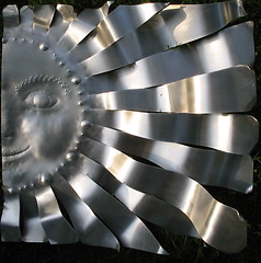 Aluminum Art Sculpture (audreyjm529) Tags: sculpture sun art face metal silver artwork aluminum working creativecommons rays metalworking supershot abigfave aestheticallyperfect