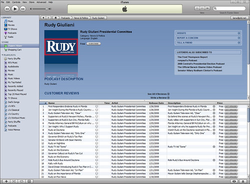 Rudy Giuliania for President - iTune Page