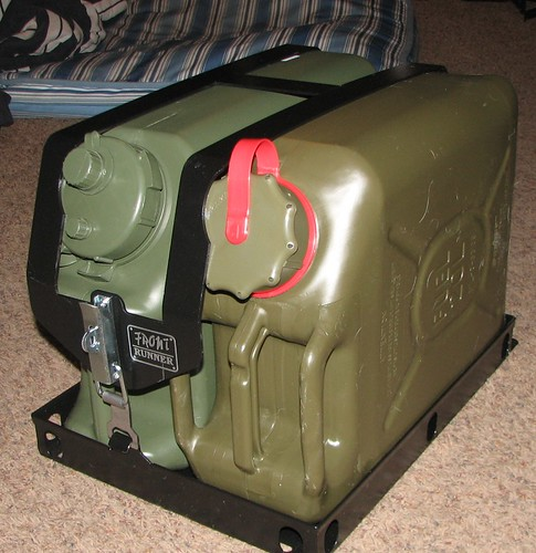 Jeep Style Plastic Gas Cans http://forum.ih8mud.com/camping-outdoor-gear/208522-scepter-gas-can-holders.html