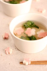 Ume blossoms in the clear soup (bananagranola (busy)) Tags: pink food cooking japan japanese soup traditional homemade fu japanesefood ume wheatgluten suimono sumashijiru