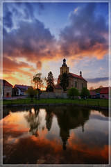 Sunset over Velis (Stevacek) Tags: sunset sky reflection church clouds d50 nikon hdr kostel jicin sigma1020mm velis stevacek