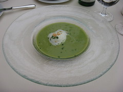 Everest: Boneless frog leg soup, watercress and tapioca