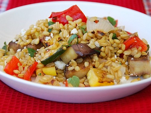 farro and grilled vegetable salad