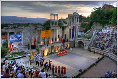 Ancient theatre- Plovdiv (Queen Tiye) Tags: sunset wallpaper people history festival ancient theatre stage folklore bulgaria crown plovdiv   prinzesabg