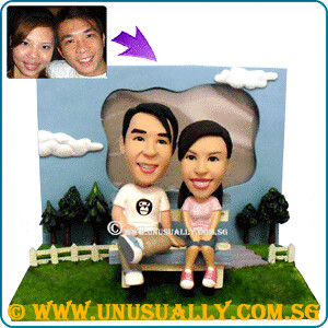 Custom 3D Lovely Couple On Garden Figurines