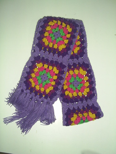 Cachecol squares croche by Scheila Veiga Crochet