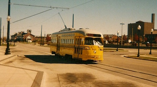 Westbound yellow PCC electric streetcar.  Kenosha Wisconsin USA. October 2003. by Eddie from Chicago