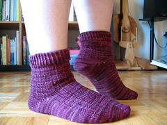 oh darling, it has all been a charade. (rivka yyz) Tags: red socks purple knit koigu kpppm charade 07 sandrapark