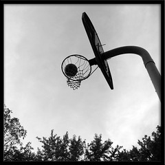 B-Ball Black & White (wishymom (Stephanie Wallace Photography)) Tags: sky blackandwhite sports basketball photoshop hoop ball outdoors lookingup basketballhoop pse bigmomma 15challengeswinner photofaceoffwinner coolestphotographers thechallengegame challengegamewinner pfogold inbasketball