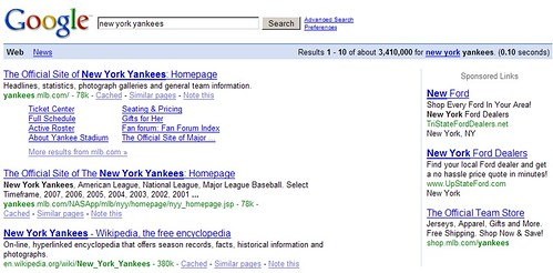 "Behavioral Targeting: ""new york yankees"""