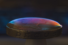 Rainbow Tension (Bobshaw) Tags: colour water rainbow coin tension pound