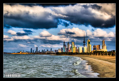 Stormy mood (Khalid AlHaqqan) Tags: city sea sky building tower beach nature canon 350d skyscrapers wind towers windy stormy kuwait 1855mm khalid strom efs hdr liberationtower f3556 welltaken alhaqqan