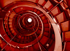 Staircase at the Lighthouse II (Semi-detached) Tags: light red shells lighthouse museum architecture stairs scotland stair december wind spirals glasgow skylight architectural staircase lane mitchell concentric circular 2007 10faves colourartaward
