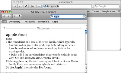 Leopard: Calling Dictionary Right from Browser