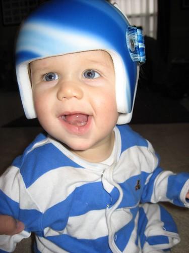 Maddox in his new helmet