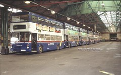 Service at your Service. (Lady Wulfrun) Tags: travel november west bus buses up standing garage 1999 line route depot mk2 service walsall midlands metrobus mcw pte birchills mk2a