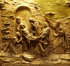 14th Station of the Cross: Jesus is Laid in the Tomb (Tiz_herself) Tags: philadelphia death nikon icons pennsylvania religion jesus tomb churches inspire stationsofthecross pilgrimage religiousicons devotions wayofthecross catholics superbmasterpiece stjohntheevangelistcatholicchurch d40x