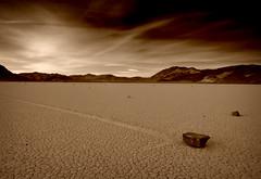 Racetrack Playa (Sepia) (sandy.redding) Tags: california blackandwhite landscape nationalpark desert deathvalley racetrackplaya deathvalleynationalpark devilsracetrack optikverve dvnp tokinaatx124prodx shotwithmikebyrne shotwithstevemendenhall shotwithrogermoorehead sailingstones
