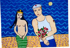 SEREIA E MARINHEIRO (CAROLMIDLEJ) Tags: sea brazil art praia painting mar couple colorful waves arte picture shell drawings popart bahia sailor casal decorao ilustrao conchas pintura artista quadros colorido marinheiro artecontemporanea artebrasileira pinturaemtela acriliconcanvas carolmidlej