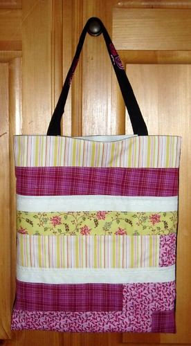 pink green white tote