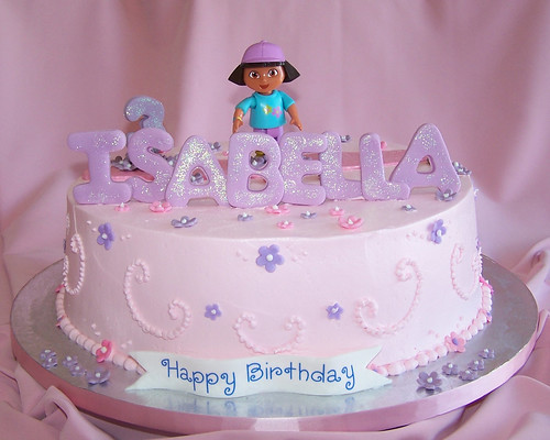 Magnificent Girly Birthday Cake Dora A Photo On Flickriver Funny Birthday Cards Online Eattedamsfinfo