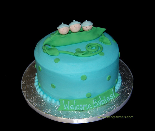 3 peas in a pod triplets baby shower cake