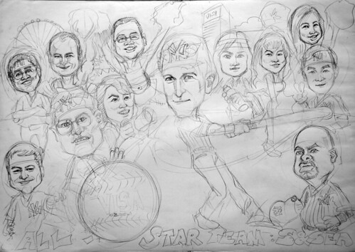 Caricatures VISA Yankees baseball pencil sketch