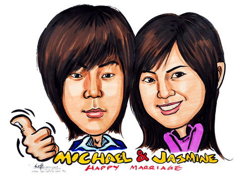 couple caricatures in colour 260408