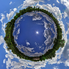 Water World (Planet) (fpsurgeon) Tags: blue panorama reflection water florida wideangle 360 eagleharbor exoplanet stereographic hugin superwide tinyplanet flemingisland littleplanet ringworld enfuse superearth gj1214b planetgj1214b