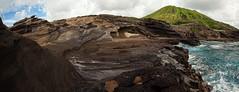 Lanai Lookout Panorama (Geoff Sills) Tags: lanai lookout panorama oahu hawaii koko head pacific rock layers nikon d700 1424mm 28g geoffrey william sills geoff illumeon digital wide angle blue water ocean