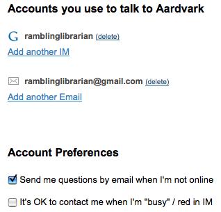 Aardvark - IM & Email settings