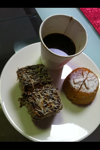 flourless mandarin cake & hummingbird cake with takeaway coffee