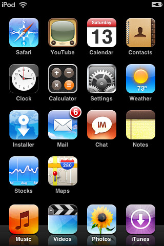 iTouch customized home screen