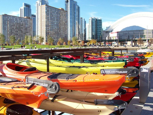 Kayak Storage with Skydome in the background