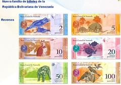 Billetes del Bolívar Fuerte - Reverso