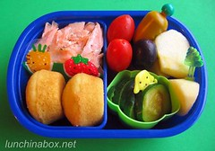 Salmon & mini muffin lunch for preschooler