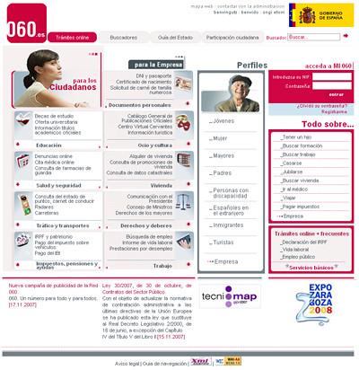 captura de pantalla de la web 060.es