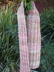 one row handspun scarf, rosy rocks